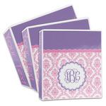 Pink, White & Purple Damask 3-Ring Binder (Personalized)