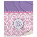 Pink, White & Purple Damask Sherpa Throw Blanket (Personalized)