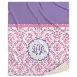 Pink, White & Purple Damask Sherpa Throw Blanket (Personalized)