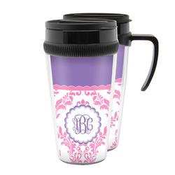 Pink, White & Purple Damask Acrylic Travel Mugs (Personalized)