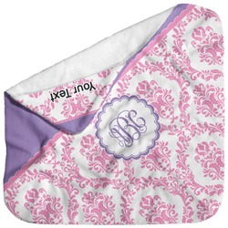 Pink, White & Purple Damask Baby Hooded Towel (Personalized)