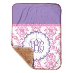 "Pink, White & Purple Damask Sherpa Baby Blanket 30"" x 40"" (Personalized)"