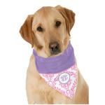 Pink, White & Purple Damask Dog Bandana Scarf w/ Monogram