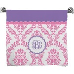 Pink, White & Purple Damask Full Print Bath Towel (Personalized)
