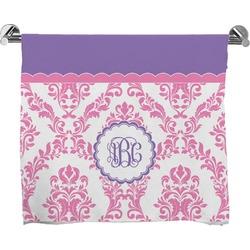 Pink, White & Purple Damask Full Print Bath Towel (Personalized)