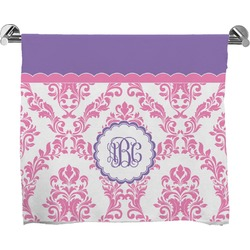 Pink, White & Purple Damask Bath Towel (Personalized)