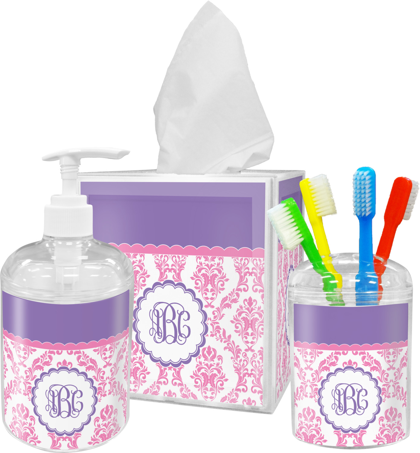 Pink, White U0026 Purple Damask Bathroom Accessories Set (Personalized)