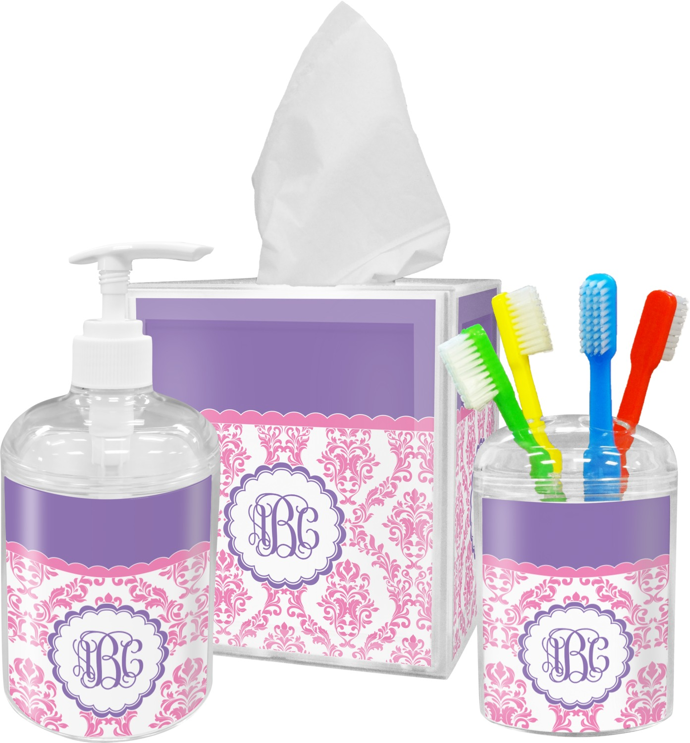 Pink white purple damask toothbrush holder for Purple and white bathroom accessories