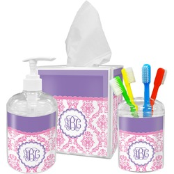 Pink, White & Purple Damask Bathroom Accessories Set (Personalized)
