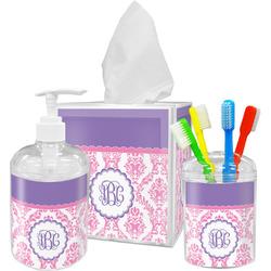 Pink, White & Purple Damask Acrylic Bathroom Accessories Set w/ Monogram