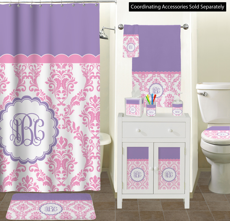 White Purple Damask Bathroom Scene