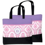 Pink, White & Purple Damask Beach Tote Bag (Personalized)