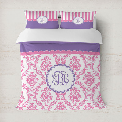Pink, White & Purple Damask Duvet Covers (Personalized)