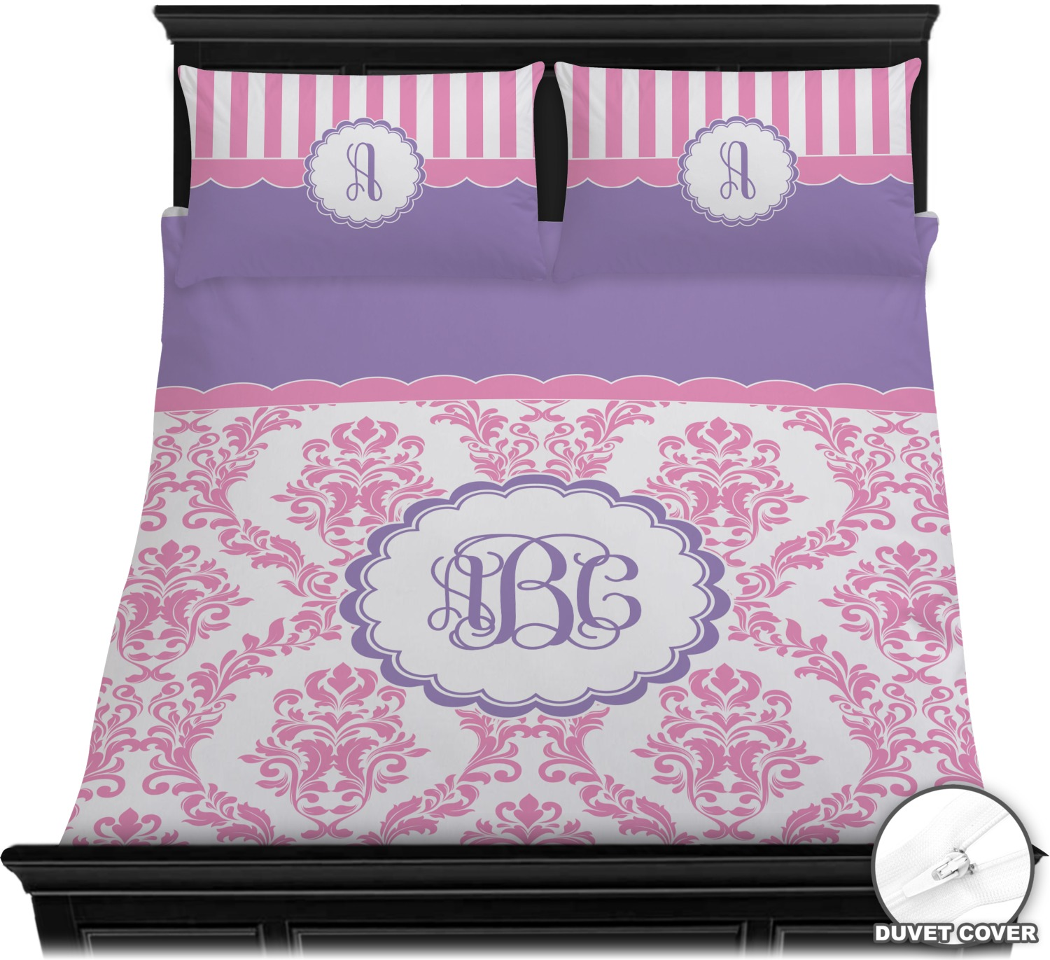 Pink white purple damask duvet cover set personalized - Pink and purple bedding queen ...