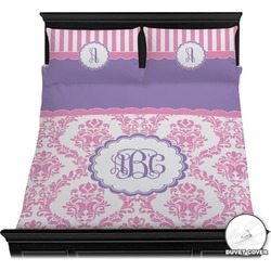 Pink, White & Purple Damask Duvet Cover Set (Personalized)