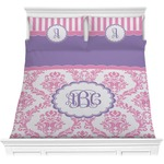 Pink, White & Purple Damask Comforters (Personalized)