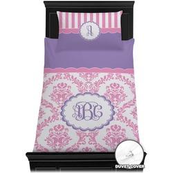 Pink, White & Purple Damask Duvet Cover Set - Toddler (Personalized)