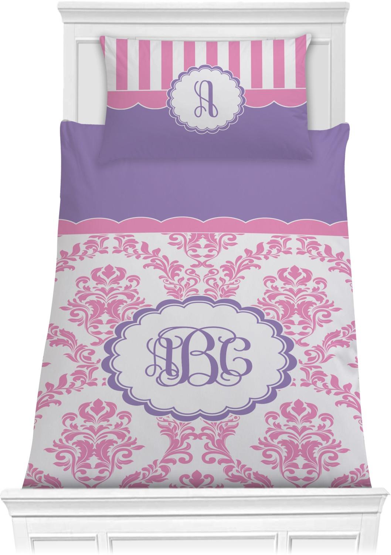 Pink White Amp Purple Damask Comforter Set Twin