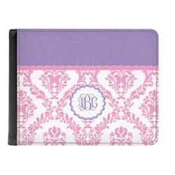 Pink, White & Purple Damask Genuine Leather Men's Bi-fold Wallet (Personalized)