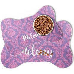 Pink, White & Purple Damask Bone Shaped Dog Food Mat (Personalized)
