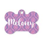 Pink, White & Purple Damask Bone Shaped Dog ID Tag (Personalized)