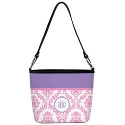 Pink, White & Purple Damask Bucket Bag w/ Genuine Leather Trim (Personalized)