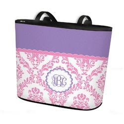 Pink, White & Purple Damask Bucket Tote w/ Genuine Leather Trim (Personalized)