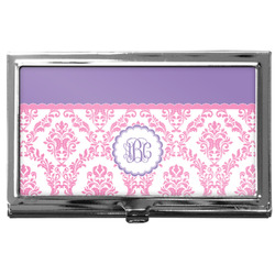 Pink, White & Purple Damask Business Card Holder