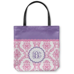 Pink, White & Purple Damask Canvas Tote Bag (Personalized)