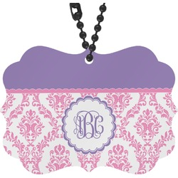 Pink, White & Purple Damask Rear View Mirror Charm (Personalized)