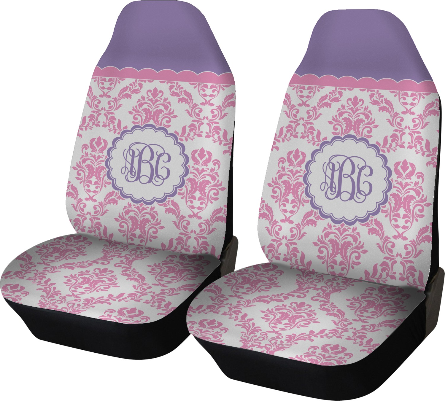 Pink White Amp Purple Damask Car Seat Covers Set Of Two