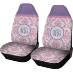 Pink, White & Purple Damask Car Seat Covers (Set of Two) (Personalized)