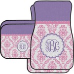 Pink, White & Purple Damask Car Floor Mats (Personalized)
