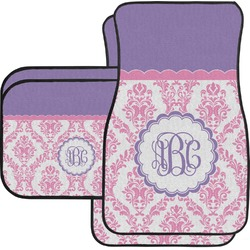 Pink, White & Purple Damask Car Floor Mats Set - 2 Front & 2 Back (Personalized)