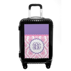 Pink, White & Purple Damask Carry On Hard Shell Suitcase (Personalized)