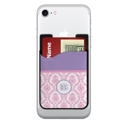 Pink, White & Purple Damask Cell Phone Credit Card Holder (Personalized)