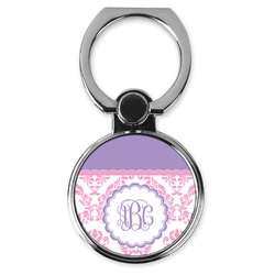 Pink, White & Purple Damask Cell Phone Ring Stand & Holder (Personalized)