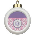 Pink, White & Purple Damask Ceramic Ball Ornament (Personalized)