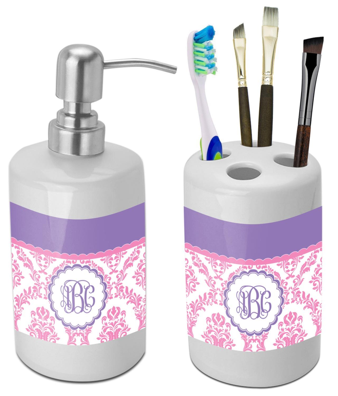 Pink, White & Purple Damask Bathroom Accessories Set (Ceramic ...
