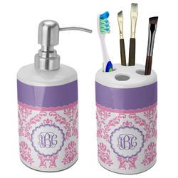 Pink, White & Purple Damask Bathroom Accessories Set (Ceramic) (Personalized)