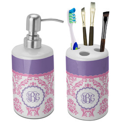 Pink, White & Purple Damask Ceramic Bathroom Accessories Set (Personalized)