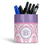 Pink, White & Purple Damask Ceramic Pen Holder