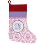 Pink, White & Purple Damask Holiday Stocking w/ Monogram