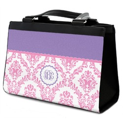 Pink, White & Purple Damask Classic Tote Purse w/ Leather Trim (Personalized)