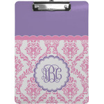 Pink, White & Purple Damask Clipboard (Personalized)