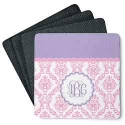 Pink, White & Purple Damask 4 Square Coasters - Rubber Backed (Personalized)