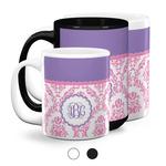 Pink, White & Purple Damask Coffee Mugs (Personalized)