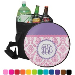 Pink, White & Purple Damask Collapsible Cooler & Seat (Personalized)