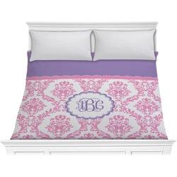 Pink, White & Purple Damask Comforter - King (Personalized)