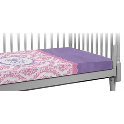 Pink, White & Purple Damask Crib Fitted Sheet (Personalized)